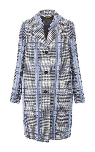 Medium versace light blue check tweed overcoat