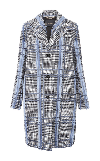 Medium versace light blue check tweed overcoat