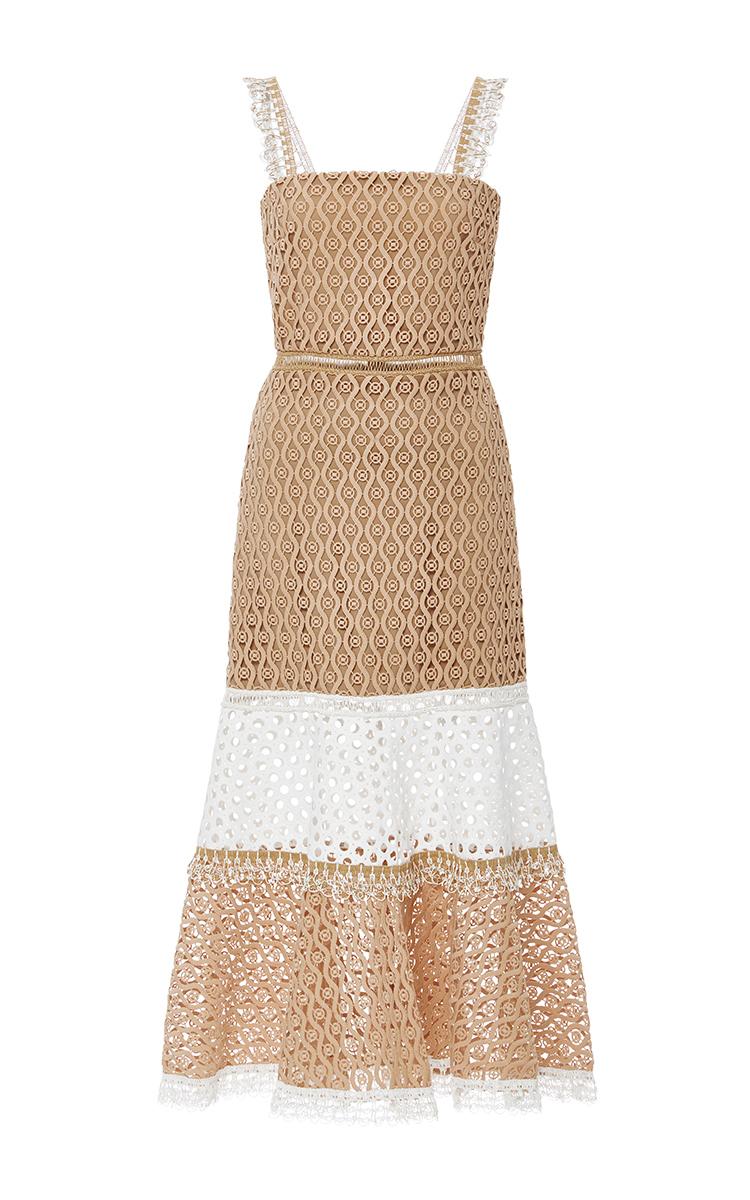 Fit flare cocktail dress tan