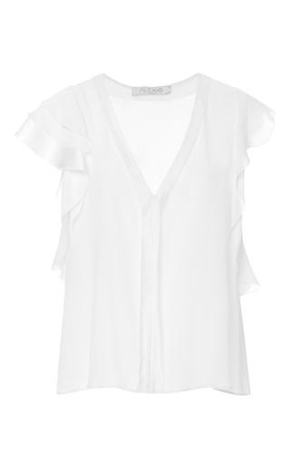 Medium alexis white janelle silk ruffle top