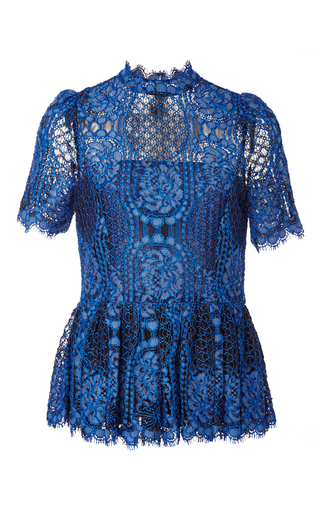 Medium alexis blue elie lace peplum top