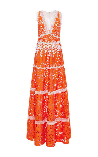 Medium alexis orange lizza floral gown