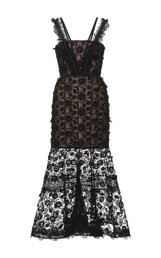 Medium alexis black lorelle lace trumpet dress