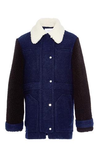 Medium carven navy wool blend sheepskin effect coat
