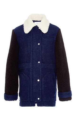 Medium carven navy wool blend sheepskin effect coat