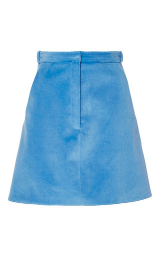Medium carven blue velvet mini skirt
