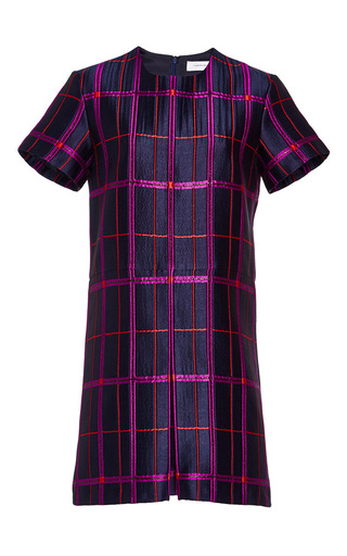Medium carven navy checked short sleeve dress