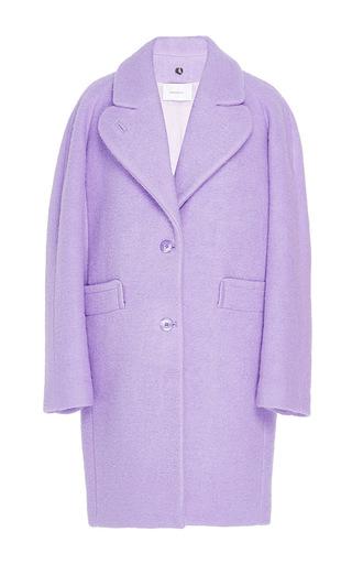 Medium carven purple boiled wool cocoon coat