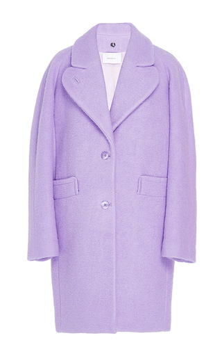 Medium carven purple boiled wool cocoon coat