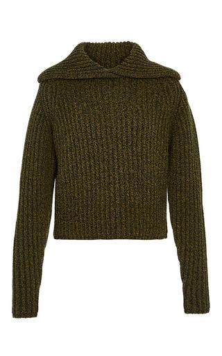 Medium carven dark green khaki wool blend rib knit pullover