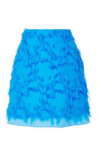 Medium carven blue fringe mini skirt