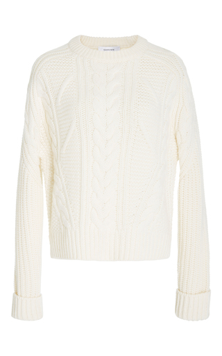 Medium carven ivory cable knit pullover