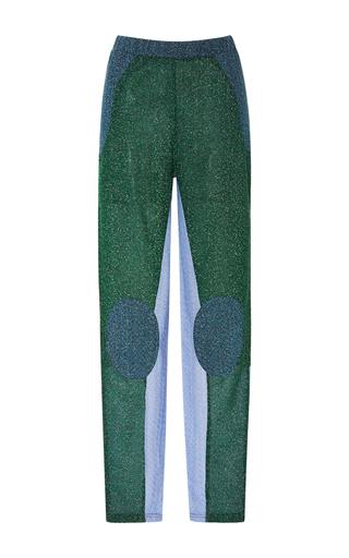 Medium carven navy lurex patched slim pant