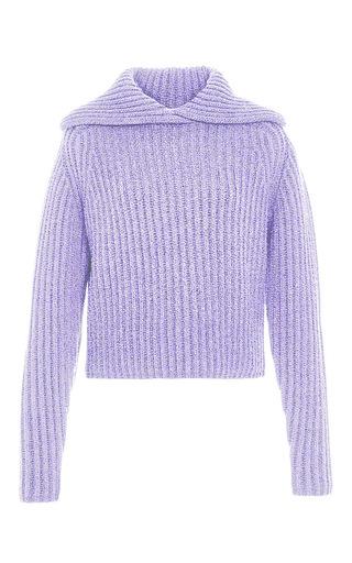 Medium carven purple lilac wool blend rib knit pullover