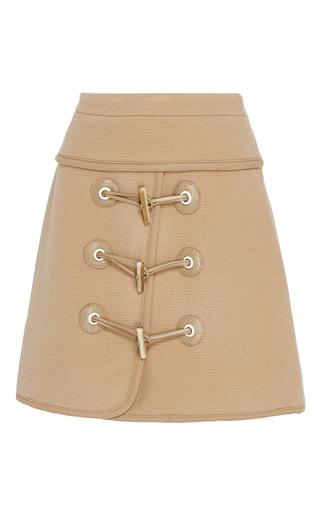 Medium carven tan felted wool toggle mini skirt