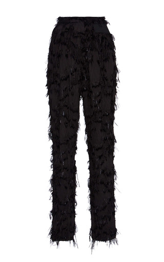 Medium carven black high waisted fringed pants