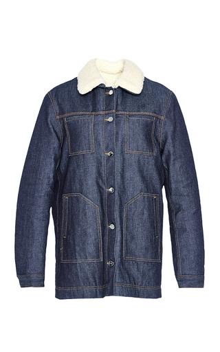 Medium carven light wash faux shearling trimmed denim jacket