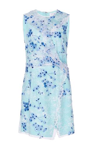 Medium carven light blue draped printed lace dress