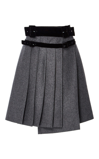 Medium carven light grey pleated wool a line skirt