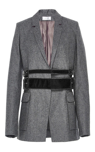 Medium carven light grey velvet belted jacket