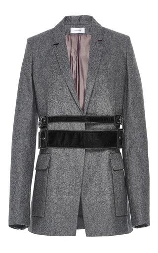 Medium carven light grey velvet belted jacket