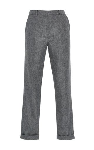 Medium carven light grey folded wool blend pant
