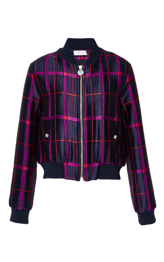 Medium carven navy checked bomber jacket