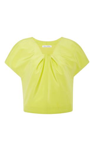 Medium oscar de la renta yellow silk faille ruched blouse