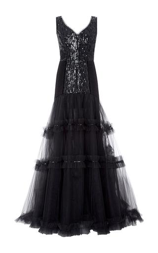 Medium oscar de la renta black beaded embellished v neck gown