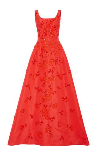 Medium oscar de la renta red embroidered silk faille a line gown