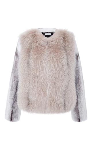 Medium oscar de la renta light grey mink and arctic marble frost fox fur jacket