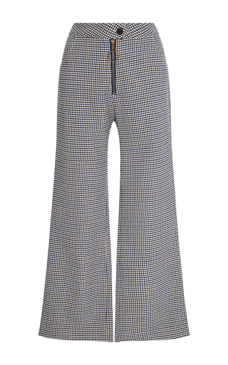 Medium manoush blue bleu cropped checked pant