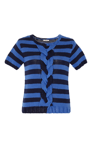 Medium manoush blue short sleeve striped bicolor braided pullover