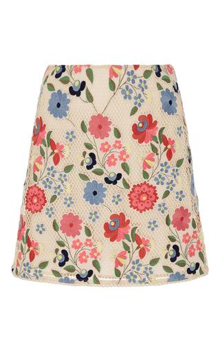 Medium manoush white ecru floral mesh a line skirt