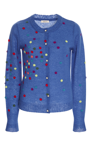 Medium manoush blue bleu dotty button up cardigan