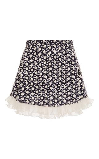 Medium manoush blue marine and ecru ruffled micro floral print a line skirt
