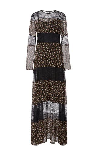 Medium philosophy di lorenzo serafini black floral georgette panel gown