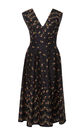 Medium philosophy di lorenzo serafini black floral cady v neck dress