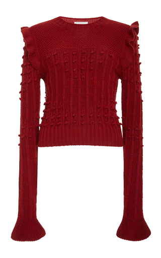 Medium philosophy di lorenzo serafini red ruffled merino sweater