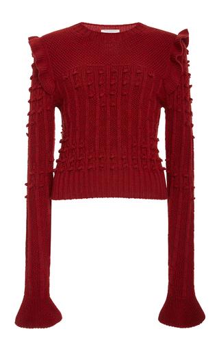 Medium philosophy di lorenzo serafini red ruffled merino sweater