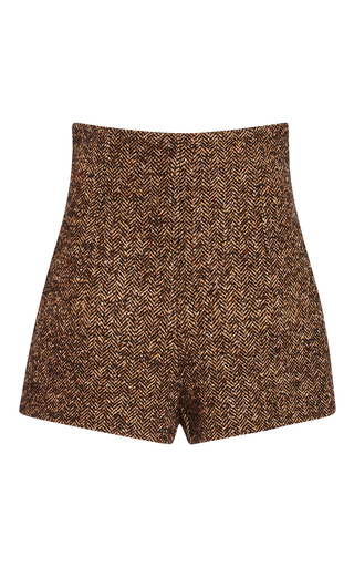 Medium philosophy di lorenzo serafini tan beige wool herringbone shorts