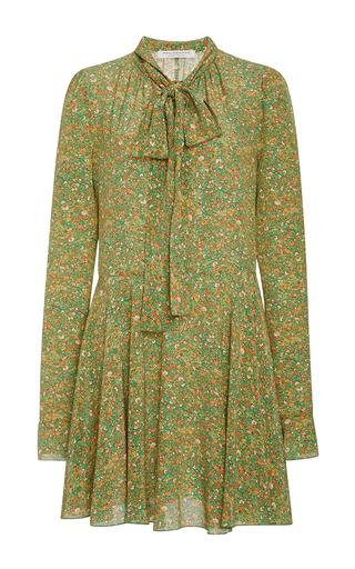 Medium philosophy di lorenzo serafini green floral crepe de chine tie neck dress