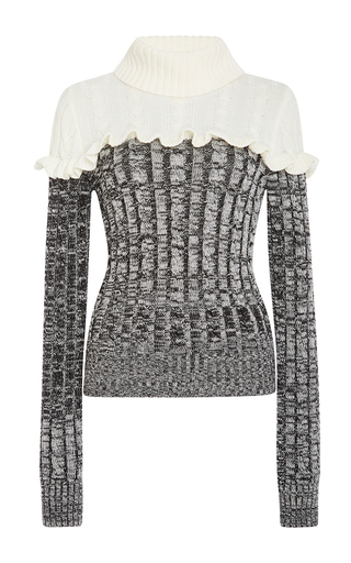 Medium philosophy di lorenzo serafini black ruffled merino colorblock sweater