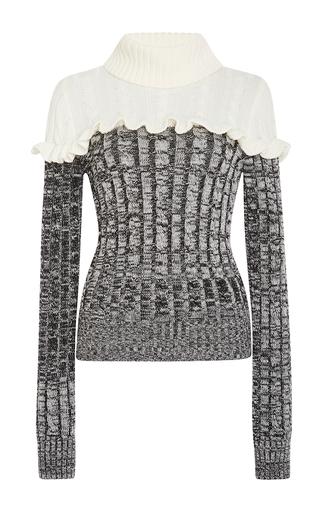 Medium philosophy di lorenzo serafini black ruffled merino colorblock sweater