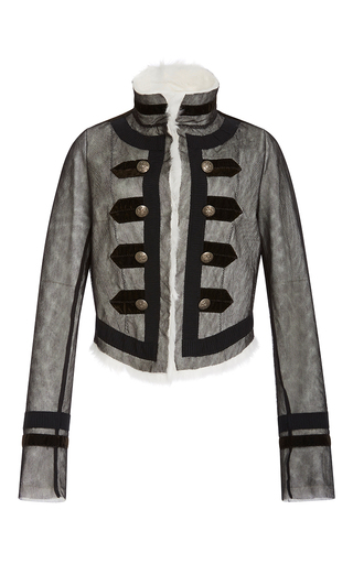 Medium philosophy di lorenzo serafini black rabbit fur military jacket