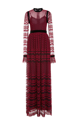 Medium philosophy di lorenzo serafini red embroidered tulle gown