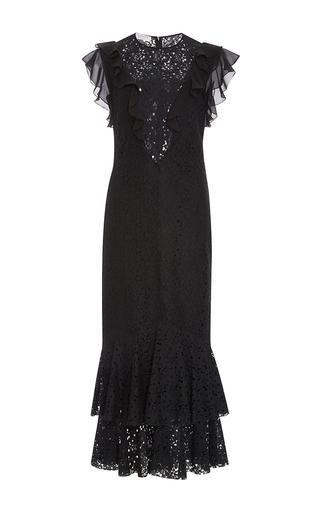 Medium philosophy di lorenzo serafini black ruffle floral lace fit and flare dress