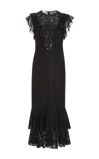 Medium philosophy di lorenzo serafini black ruffle floral lace fit and flare dress