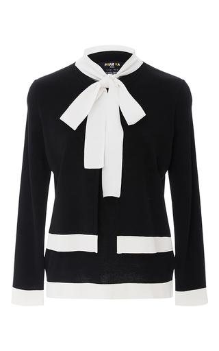 Medium paule ka black layered neck tie sweater