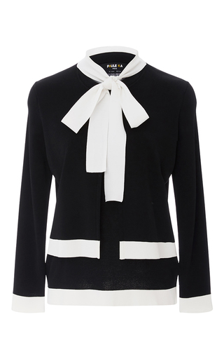 Medium paule ka black layered neck tie sweater